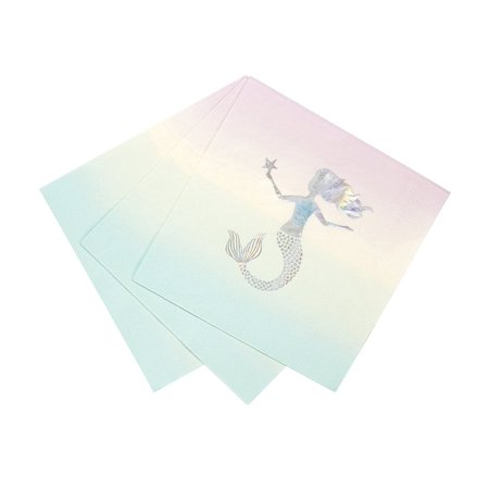 Talking Tables We Heart Mermaids 13' Disposable Napkins with Iridescent Foil Mermaid Detail for Children's Parties, Unicorn Party, Mermaid Party, (16