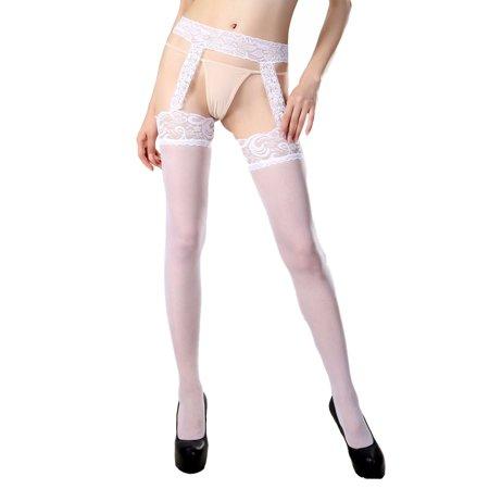 Womens Sexy Plus Size Attached Garter Belt Sheer Suspender Pantyhose Hosiery Tights - Suspender Hose