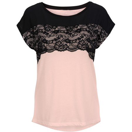 bb19a536adb Womens Crew Neck Lace Casual Loose Cute Short Sleeve Tops