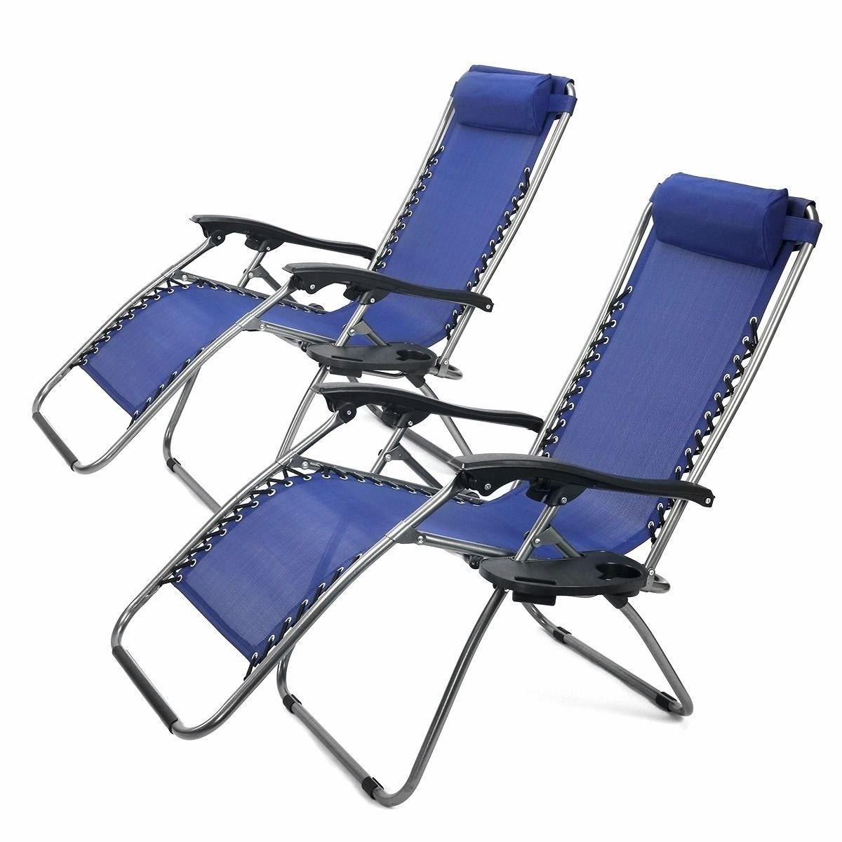 New 1Pair Blue Zero Gravity Lounge Chairs Recliner Outdoor Beach Patio Pool
