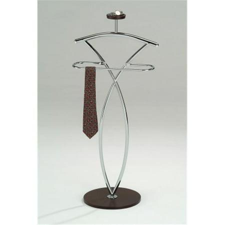(Inroom Furniture Designs CH-4195 Valet Chrome - Walnut Finish)