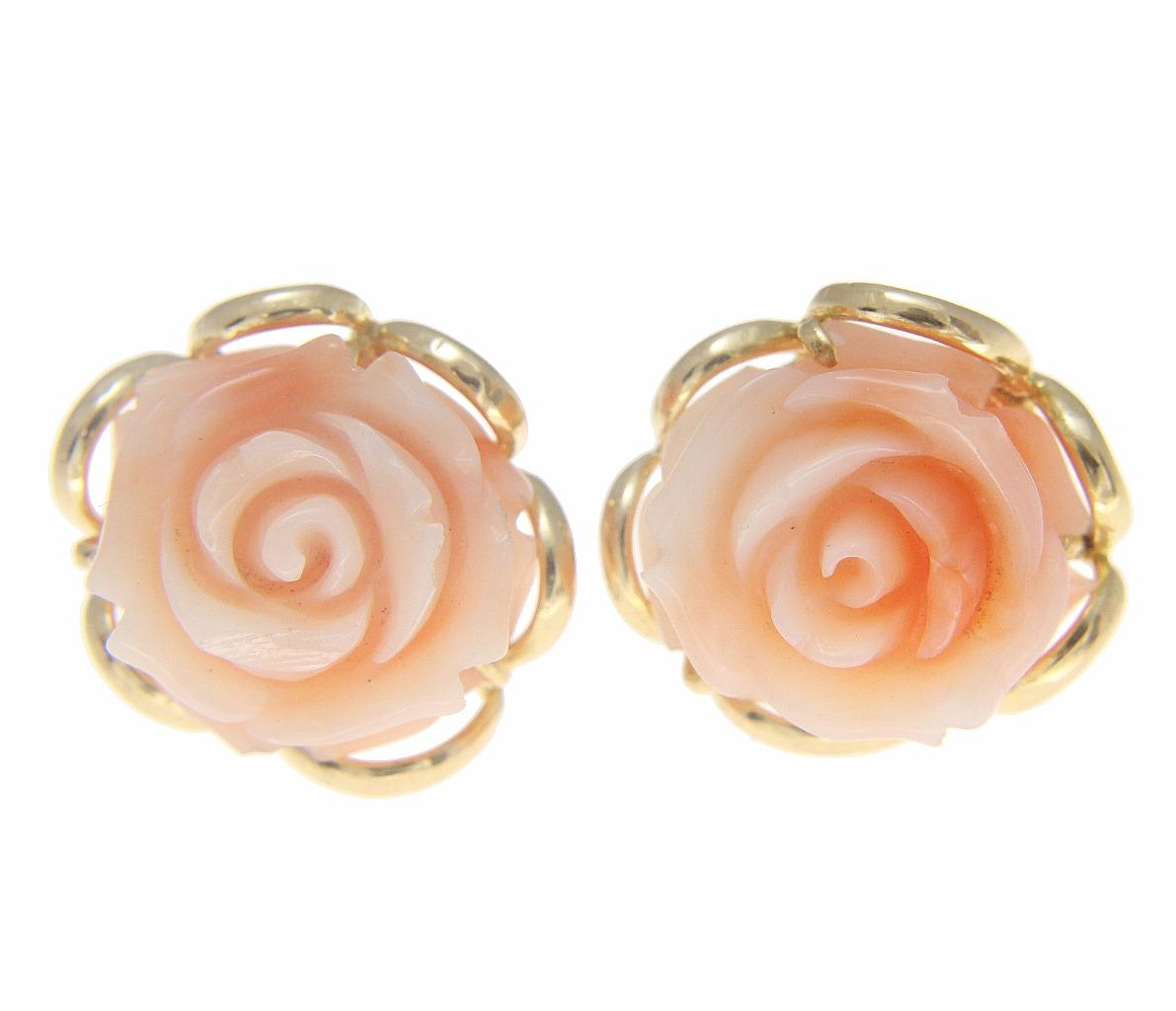 Genuine natural pink coral carved flower stud earrings solid 14k yellow gold by