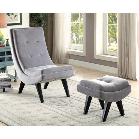 - Furniture of America Carly Curved Accent Chair & Ottoman Set, Multiple Colors