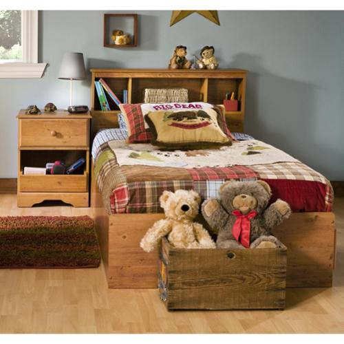 Kids Twin Wood Captainu0027s Bed 3 Piece Bedroom Set In Country Pine