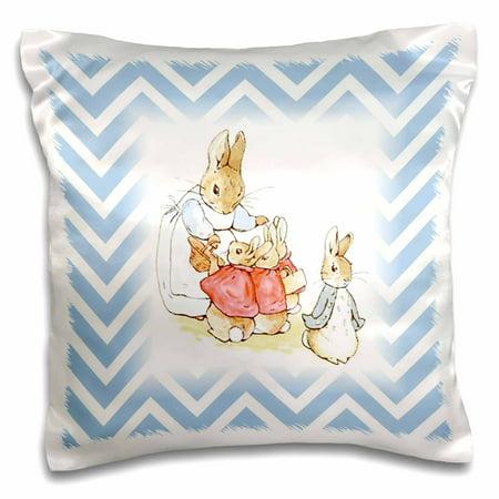 3dRose Image of Peter Rabbit Scene On Blue Chevron Stripes - Pillow Case, 16 by 16-inch - Stripes Bar Scene