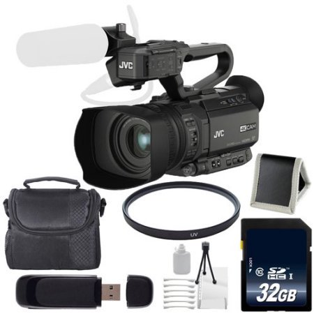 JVC GY-HM200 GYHM200 4KCAM Compact Handheld Camcorder + 32GB SDHC Class 10 Memory Card + Carrying Case + 62mm UV Filter 285 Video Card