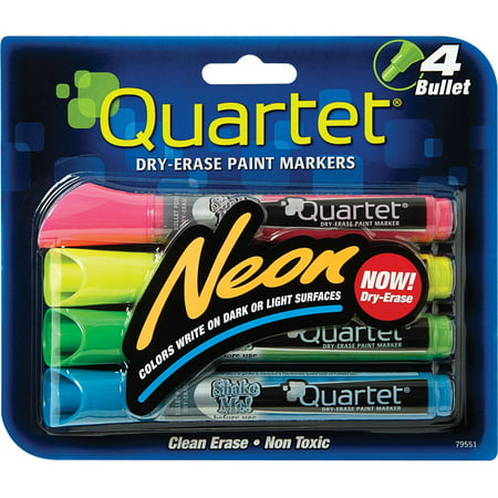 Quartet Neon Dry-Erase Markers, Bullet Tip, Assorted Colors, 4 Pack (79551) (Neon Color Explosion)