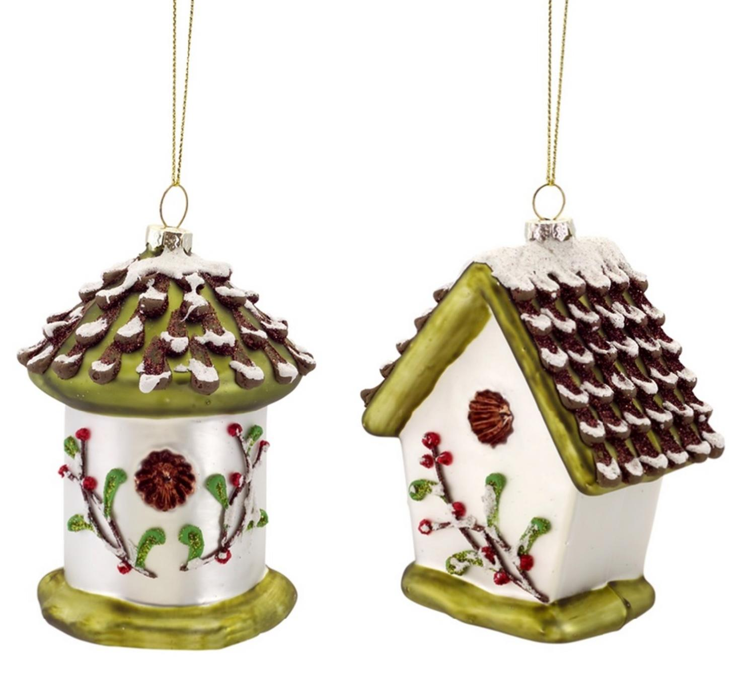 Pack of 6 Glass Glitter Snowy Birdhouse Christmas Ornaments 5""