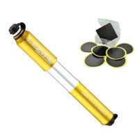 Lezyne Pressure Drive Bike Hand Pump (Gold, Medium) + Glueless Patch Kit