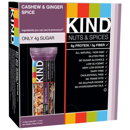 KIND Nuts & Spices Bars, Cashew & Ginger Spice, 1.4 Ounces, 12 Count