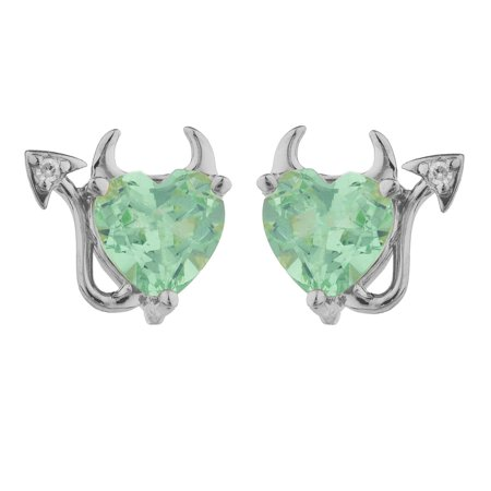 2 Ct Green Sapphire & Diamond Devil Heart Stud Earrings 14Kt White Gold (Green Diamond Stud Earrings)