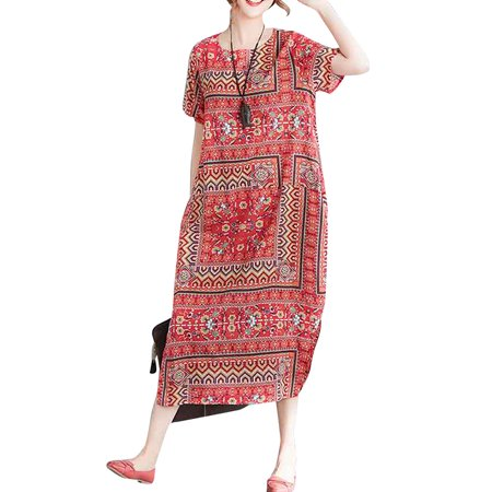 Plunging Neckline Dress (Women Crew Neck Short Sleeve Pockets Slit Floral Printed Baggy Long Dress )