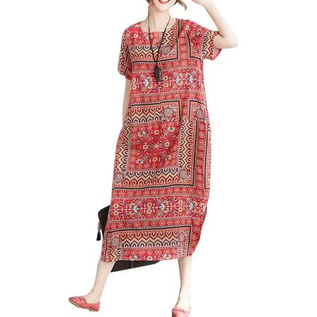 Straight Neckline Long Dress (Women Crew Neck Short Sleeve Pockets Slit Floral Printed Baggy Long)