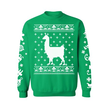 Awkward Styles Llama Christmas Sweatshirt with White Sleeves All Over Print Christmas Sweater Funny Gifts for Xmas Holiday Sweater Xmas Party Outfit Alpaca Lovers Christmas Animal Sweater Unisex ()