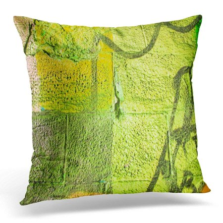 ARHOME Colorful Khaki Olive Drab and Dark Green Sprayed Graffiti on Aged Cracked Brick Wall with Drips Smears Pillows case 20x20 Inches Home Decor Sofa Cushion Cover