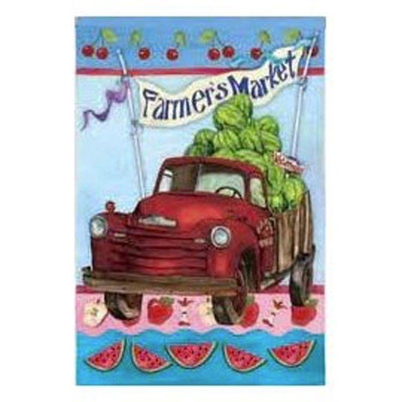 "Farmer's Market Summer Garden Flag Watermelon Apples Double Sided 12.5"" x 18"""