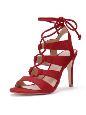 189b0778a84f Product Image Unique Bargains Women s Stiletto Heel Open Toe Cutout Lace Up  Sandals