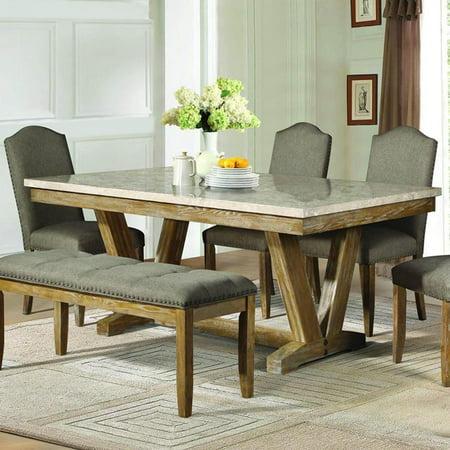 Homelegance Jemez Rectangular Faux Marble Top Dining Table In Weathered Walmart Com Walmart Com