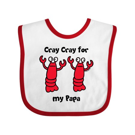 Lobster Cray Cray for my Papa Baby Bib White/Red One Size (Lobster Bib)