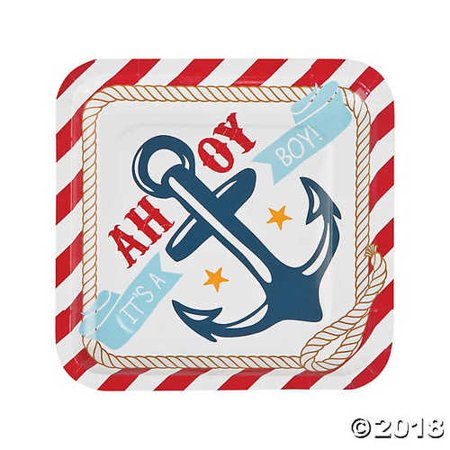 Nautical Baby Shower Paper Dinner Plates (Nautical Paper Plates)