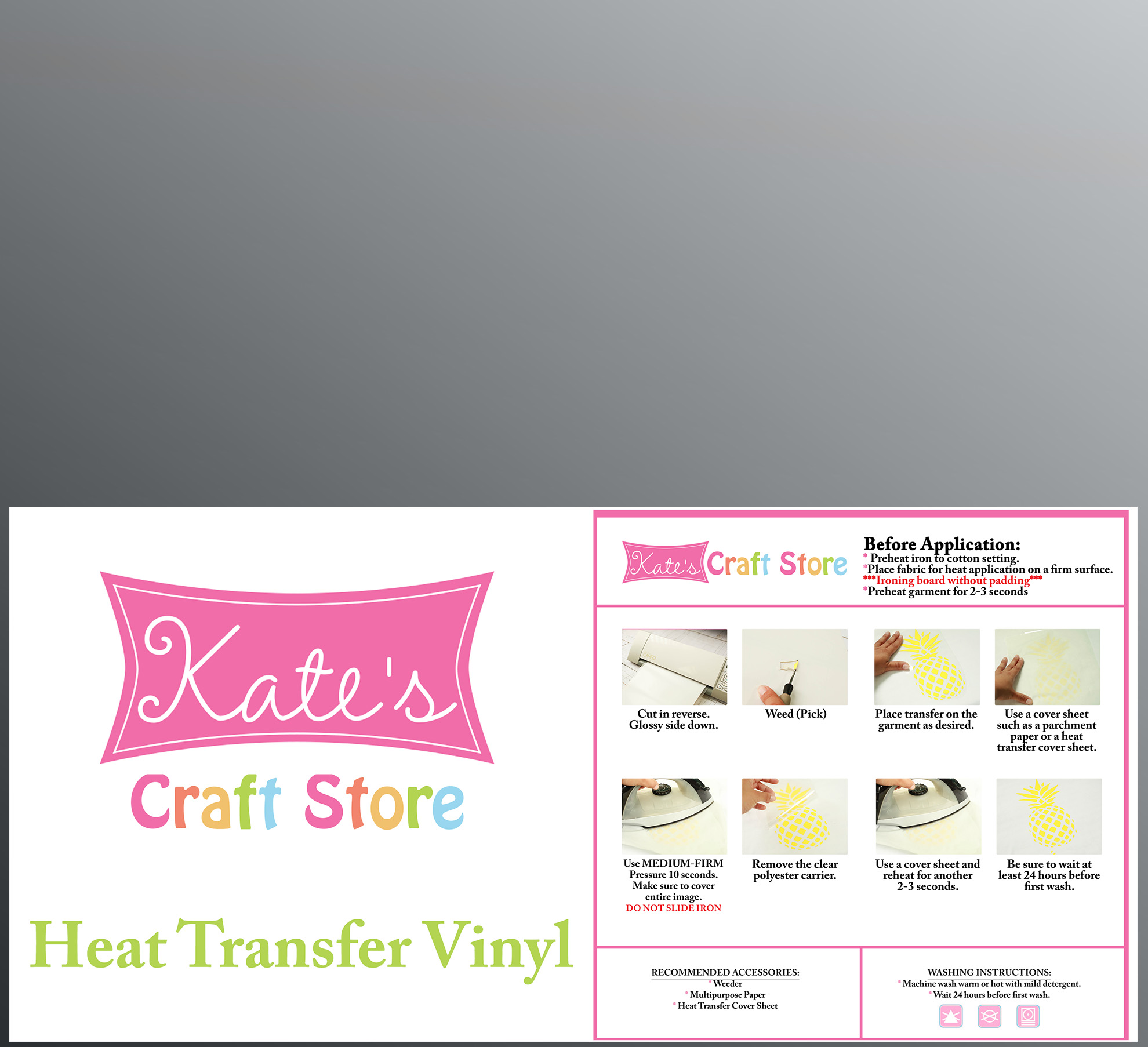 """Kate's Craft Store - 3 sheets of 12"""" x 15"""" Silver Siser Easyweed Heat Transfer Vinyl"""