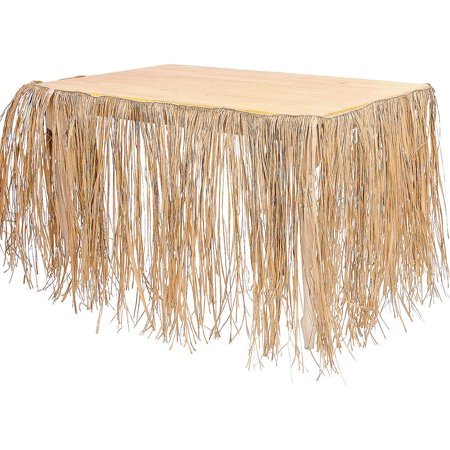 9' Real Raffia Grass Table Skirt Luau Hawaiian Party (Table Grass Skirts)
