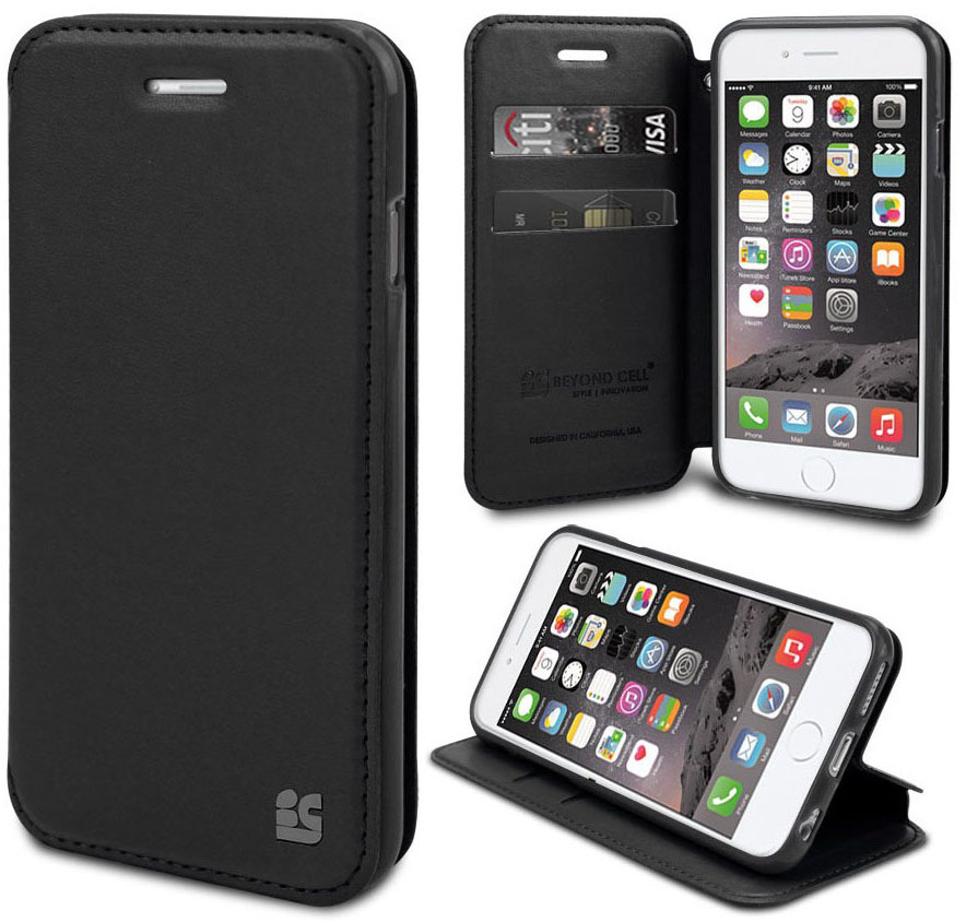 BLACK INFOLIO WRIST STRAP LANYARD WALLET CREDIT CARD ID CASE FOR iPHONE 6 PLUS