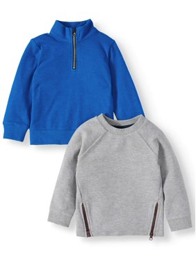 Wonder Nation Toddler Boy Long Sleeve Ottoman T-Shirt and 1/4 Zip Pullover Sweatershirt