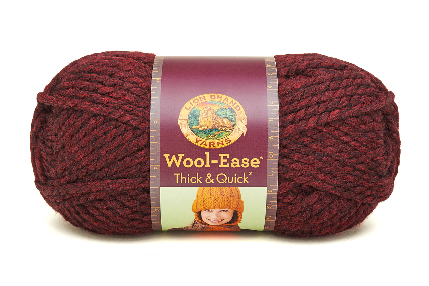 Lion Brand Yarn Wool-Ease Thick and Quick Claret 640-143 Classic Wool Yarn
