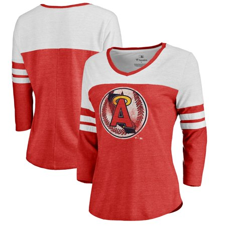 California Angels Fanatics Branded Women's Cooperstown Collection Color Block Two-Tone Tri-Blend 3/4-Sleeve T-Shirt -