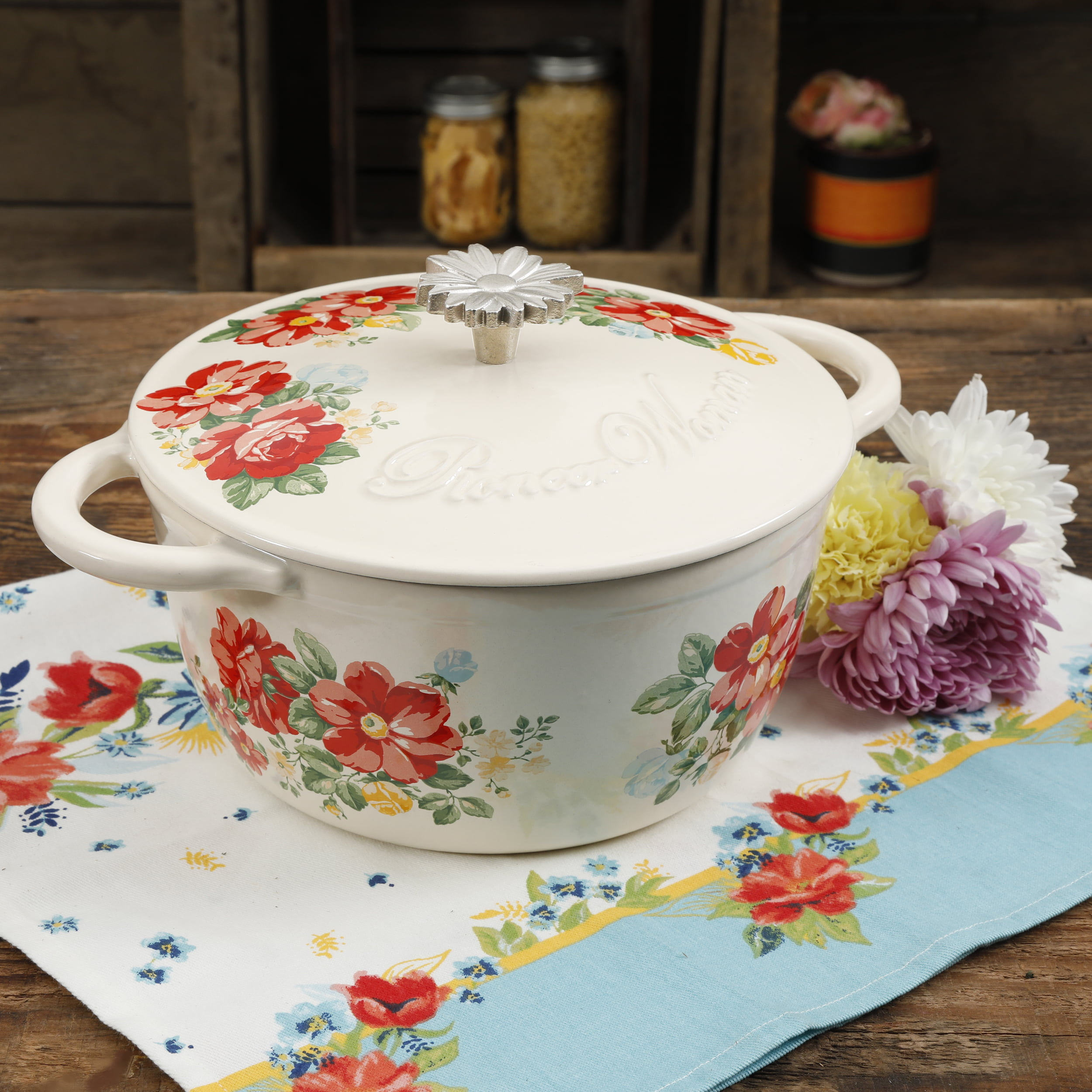 The Pioneer Woman Timeless Beauty Vintage Floral 3-Quart Enameled Cast Iron Casserole w Lid by Gibson Overseas Inc.