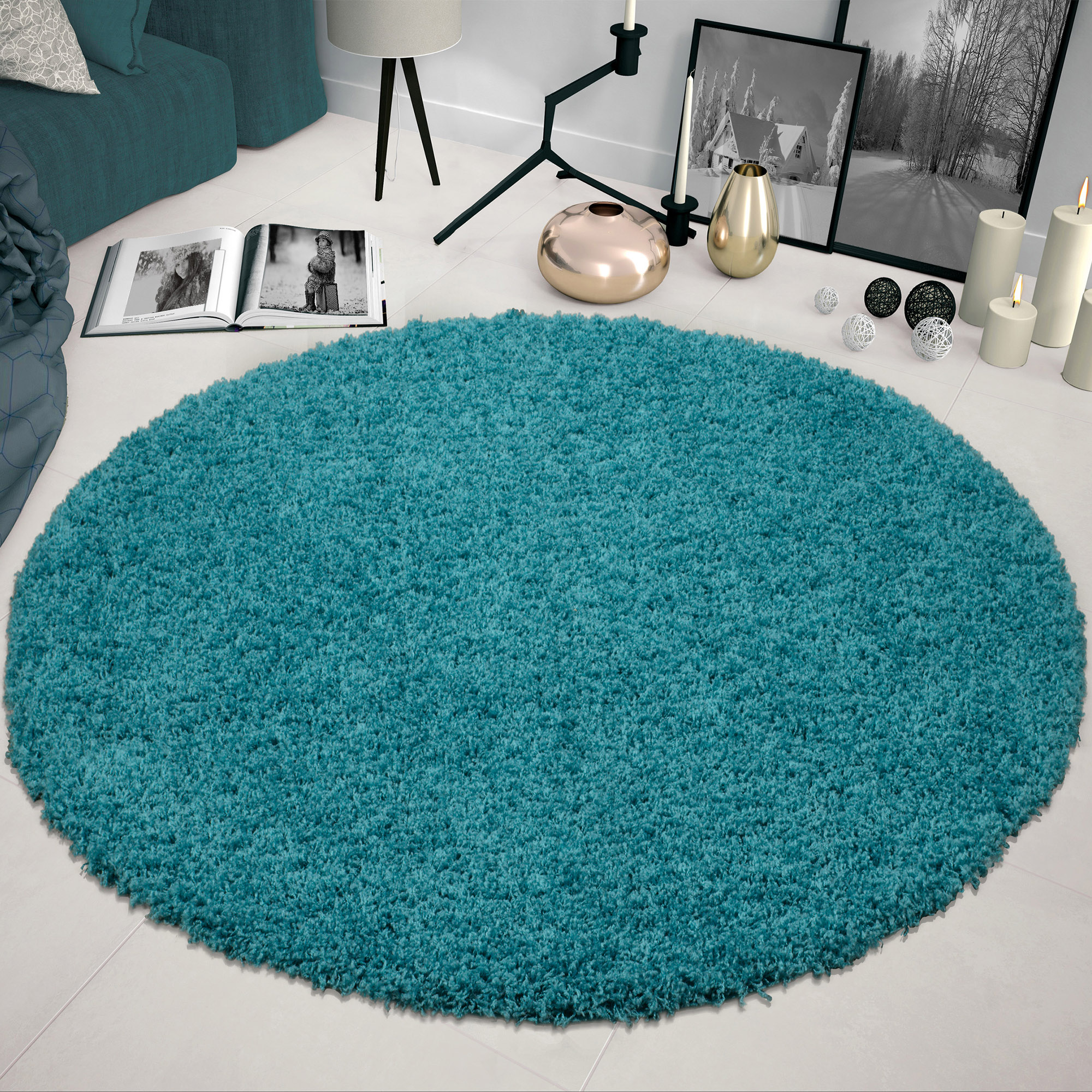 Sweet Home Stores Cozy Solid Contemporary Living and Bedroom Soft Shag Oval and Round Area Rug