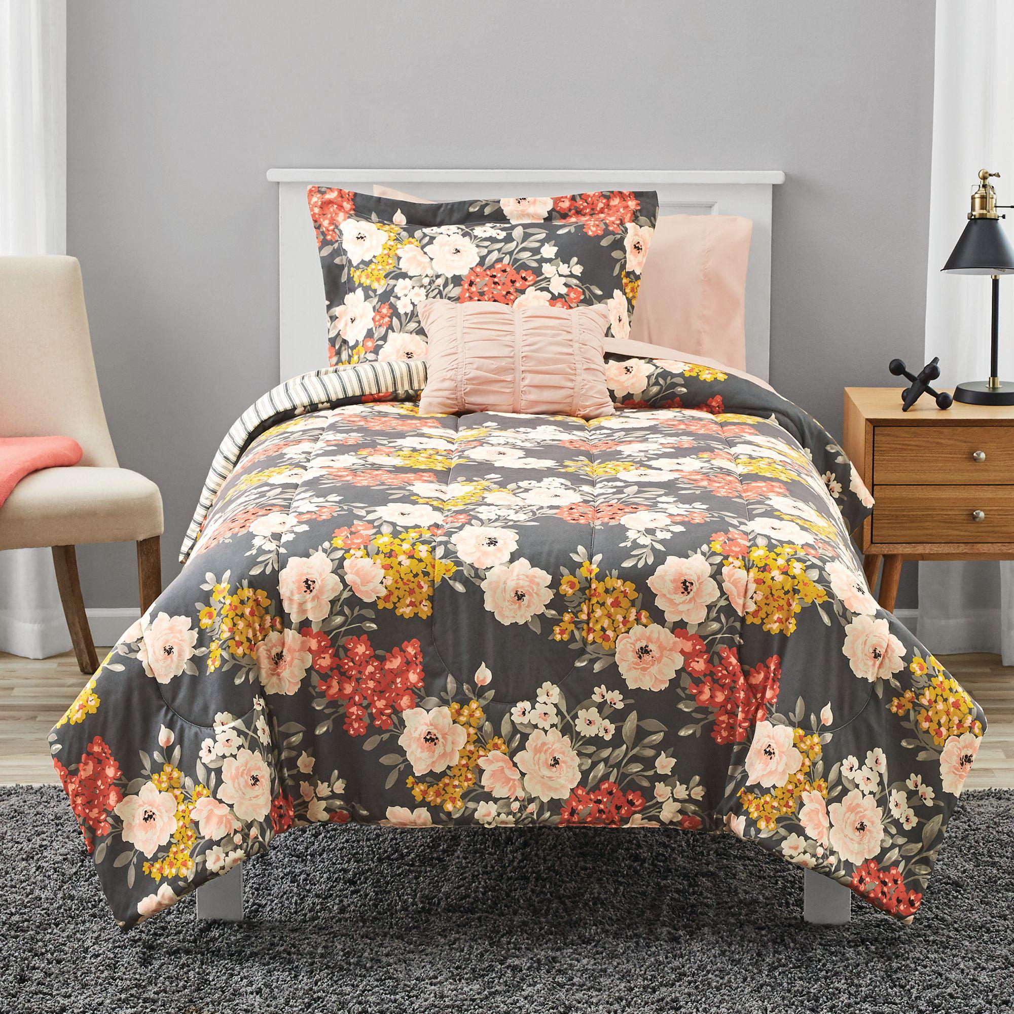 Mainstays Grey Floral Bed In A Bag Comforter Bedding Set