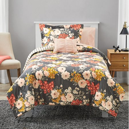 Mainstays Grey Floral Bed In a Bag Comforter