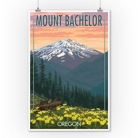 Mt. Bachelor, Oregon - Pine Martin and Flowers - Lantern Press Artwork (9x12 Art Print, Wall Decor Travel Poster)