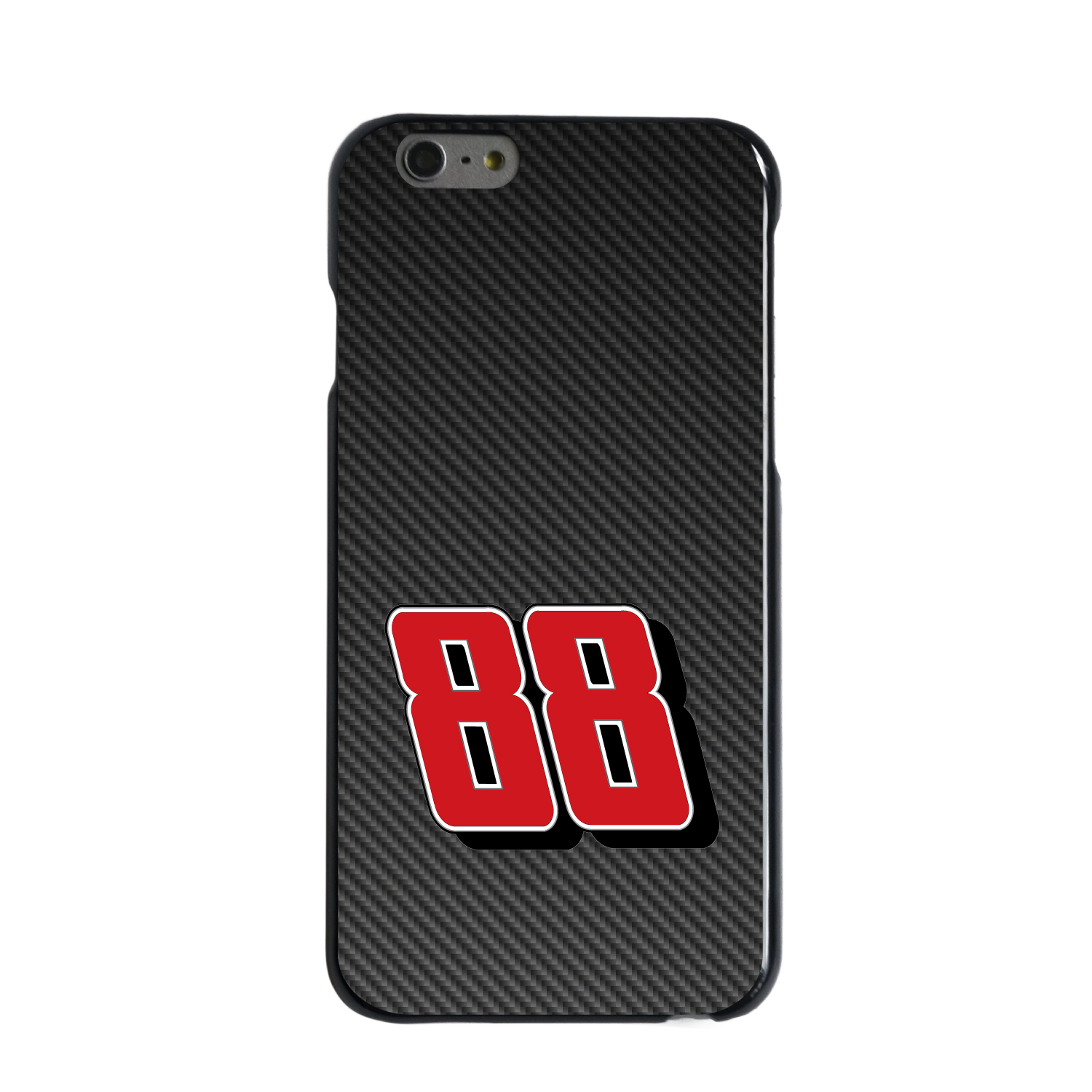 """CUSTOM Black Hard Plastic Snap-On Case for Apple iPhone 6 / 6S (4.7"""" Screen) - Race Car Number 88"""