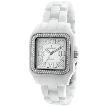 Women's PS4897WT Swiss Ceramic Swarovski Crystal White Dial