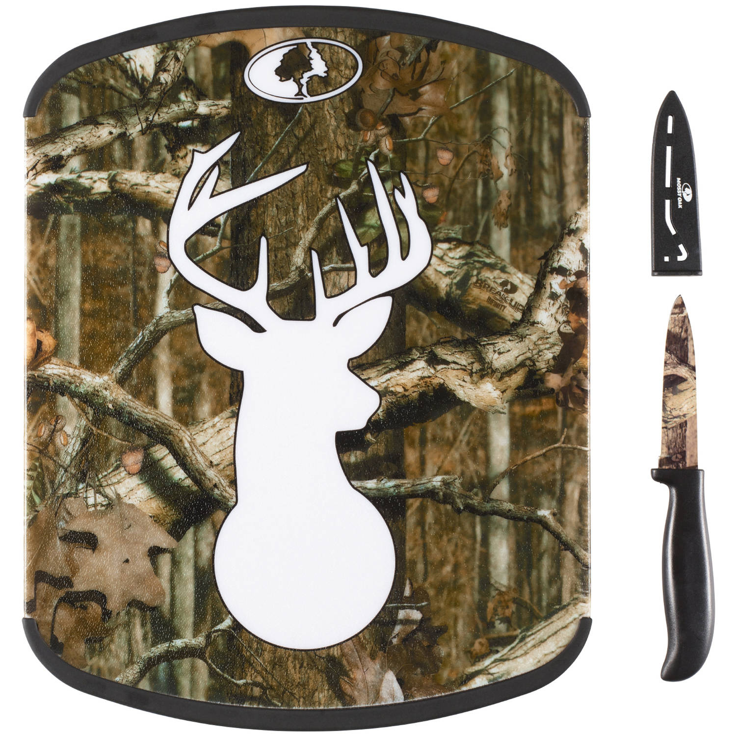 """Mossy Oak 11 Inch x 14 Inch Cutting Board and 3.5 Inch Paring Knife Set, Break Up Infinity, """"Stag Head"""" Design"""