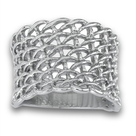 Wide Filigree Chain Link Woven Mesh Knot Ring Stainless Steel Band Size 8 ()