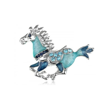 Magnetic Pearlescent Blue Enamel Gallop Horse Animal Costume Jewelry Pin Brooch