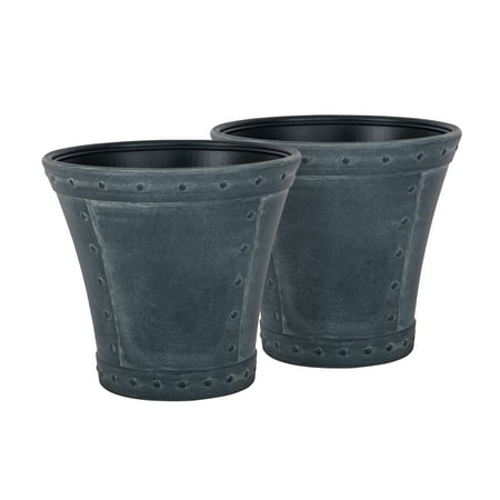 Suncast Rivanna Decorative Resin Planter 2-Pack, Zinc,