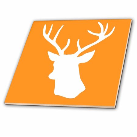 3dRose White Stag Head Silhouette on Orange - country deer with antlers - Ceramic Tile, (Ceramic Deer Head With Holes For Antlers)