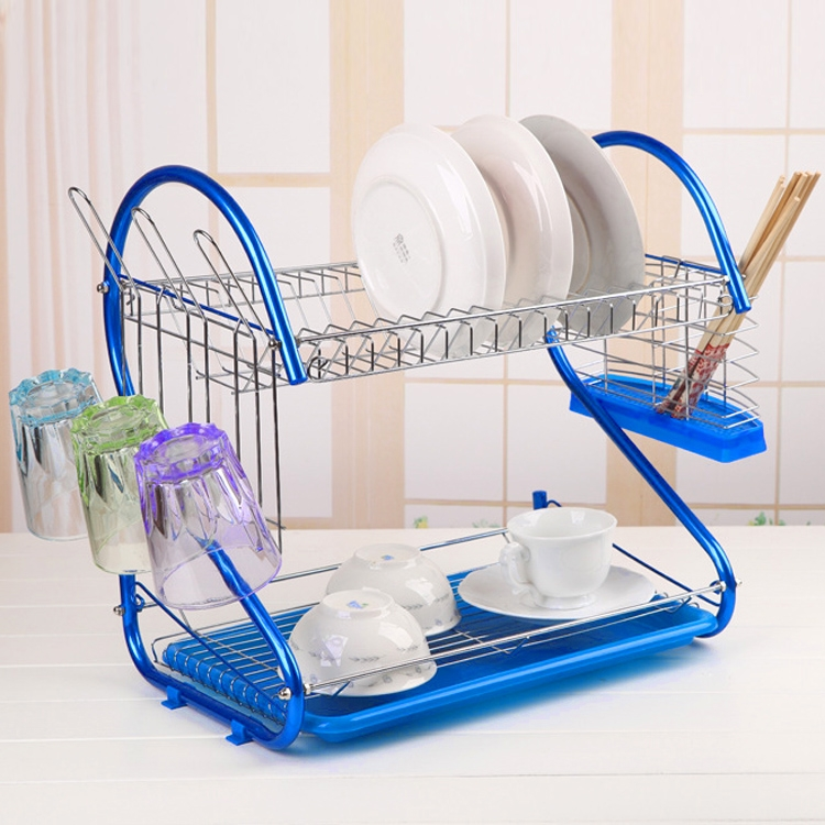 Kitchen 2 Tier Dish Rack Plates Cup Drainer Drip Tray Cutlery Holder