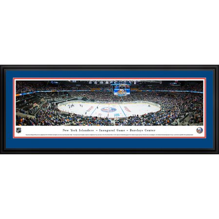 New York Islanders Inaugural Game at Barclays Center Blakeway Panoramas NHL Print with Deluxe Frame and Double Mat by