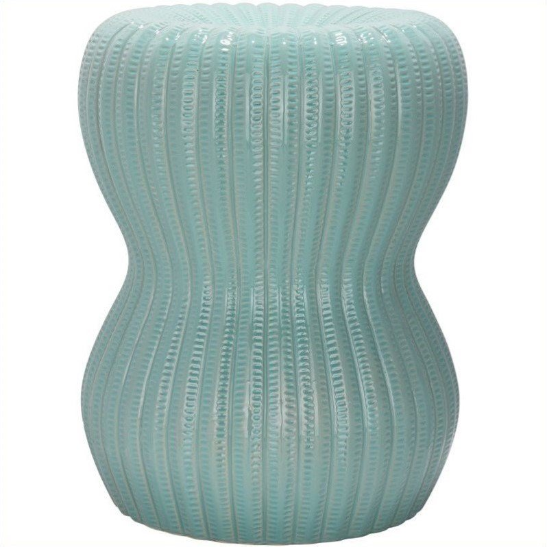 Safavieh Hour Glass Ceramic Garden Stool in Light Aqua