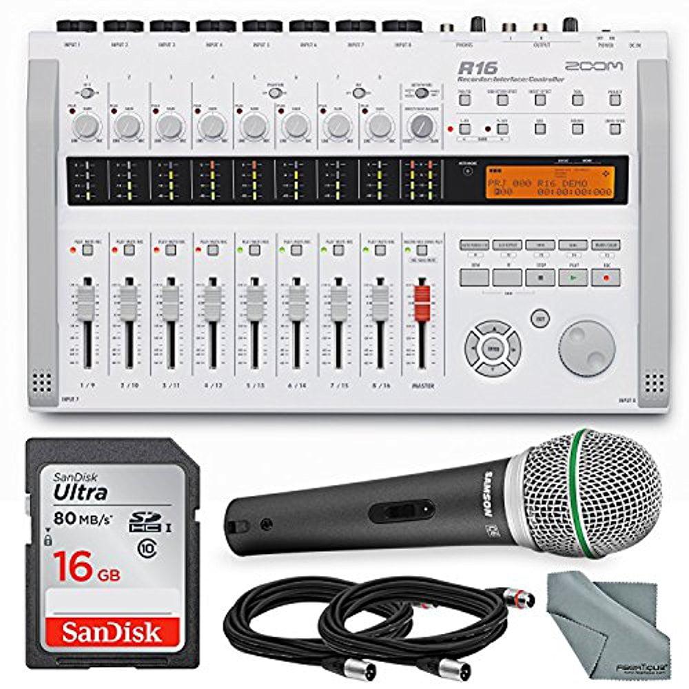 Zoom R16 Multi-Track Recorder & Mixer, Computer Interface & Controller Bundle with Q6 Mic + Cable + 16GB + FiberTique Cloth