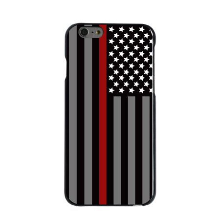 """CUSTOM Black Hard Plastic Snap-On Case for Apple iPhone 7 / iPhone 8 (4.7"""" Screen) - Thin Red Line US Flag Fire Rescue"""