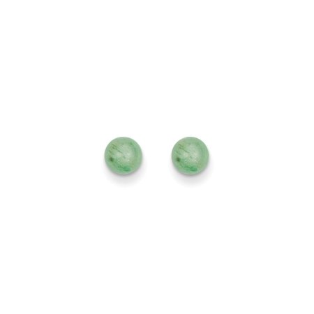 (14k Madi K 5mm Green Natural Stone Post Earrings)