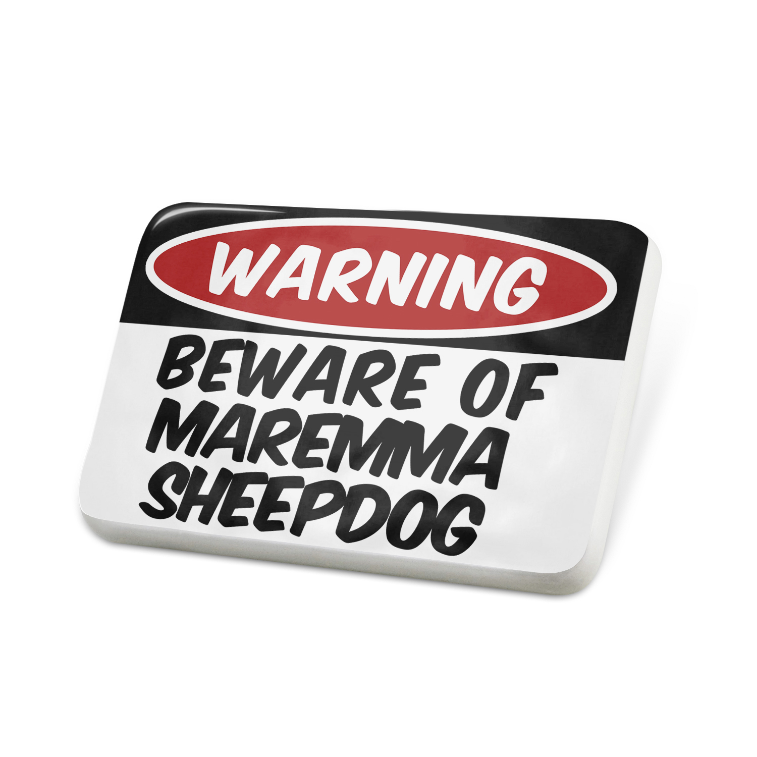 Porcelein Pin Beware of the Maremma SheepDog from Italy Lapel Badge – NEONBLOND