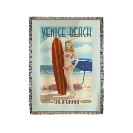 Venice Beach, California - Pinup Surfer Girl - Lantern Press Poster (60x80 Woven Chenille Yarn Blanket) (Venice Beach Girl)